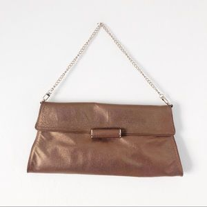 BCBGMAXAZRIA Bronze Leather Chain Clutch